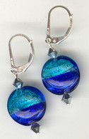 Cobalt and aqua silver foil lined lentil earrings