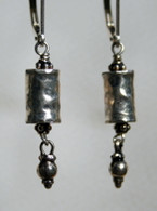 Hammered silver column earrings