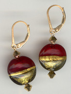Red and topaz gold foil lined lentil earrings