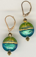 Aqua and grass green gold foil lined lentil earrings
