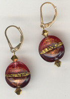 Rubino and amethyst gold foil lined lentil earrings
