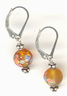 "Amber ""millefiori"" glass earrings"