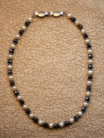 Carnelian Knoll Classic Hematite and Freshwater Pearl Necklace