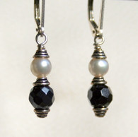 Faceted hematite and freshwater pearl double wrapped earrings