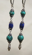 Turquoise and Lapis triple drop earrings