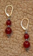 6 & 8mm carnelian doublewrap earrings