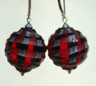 Red and black sculpted blown spheres