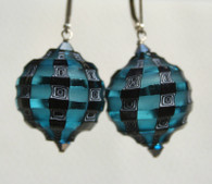 Aqua and black sculpted blown spheres