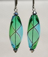 Aqua and emerald olive shaped yin yang design Murano glass earrings
