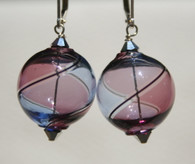 Round purple and lavender yin yang design Murano glass earrings