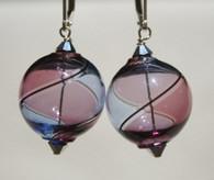 Round purple and lavender yin yang design Murano glass earrings