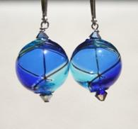 Round cobalt and aqua yin yang design Murano glass earrings