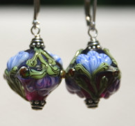 Blue and purple floral lampworked crystal shaped earrings