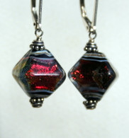 Tomato red dichroic lampworked glass crystal shaped earrings