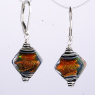 Orange dichroic lampworked glass crystal shaped earrings