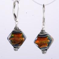 Orange dichroic lampworked glass crystal shaped earrings