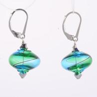 Onion shaped aqua and emerald yin yang design Murano glass earrings