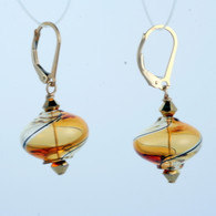 Onion shaped honey and amber yin yang design Murano glass earrings
