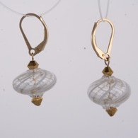 Onion shaped white and gold spiral Murano glass earrings