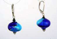 Onion shaped cobalt and aqua yin yang design Murano glass earrings