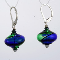 Onion shaped emerald and cobalt aqua yin yang design Murano glass earrings