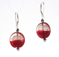 Red and silver silver foil lined lentil earrings