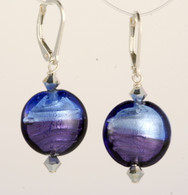 Two-tone blue silver foil lined Venetian glass lentil earrings
