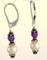 Double wrapped amethyst and pearl earrings