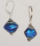 Ocean blue dichroic lampworked glass crystal shaped earrings