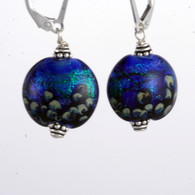 Peacock dichroic lampworked lentil earrings