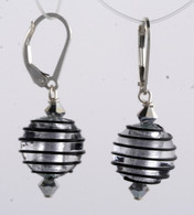 Black spiral and silver foil lined Venetian glass spherical earrings
