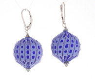 Light and cobalt blue sculpted spherical earrings