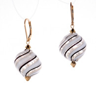 "Translucent white and thin black striped Murano glass ""sasso"" earrings"