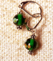 "Clear emerald green ""millefiori"" glass earrings"