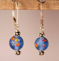 "Frosted sky blue ""millefiori"" glass earrings"