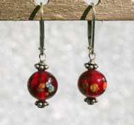 "Clear garnet red ""millefiori"" glass earrings"