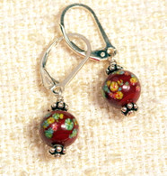 "Chestnut brown ""millefiori"" glass earrings"