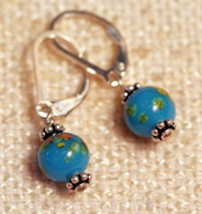 "Blue ""millefiori"" glass earrings"