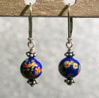 "Dark cobalt  ""millefiori"" glass earrings"