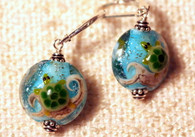 Turtle lampworked lentil earrings