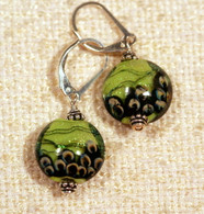 Grass green dichroic lampworked lentil earrings