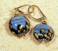 Sky blue dichroic lampworked lentil earrings