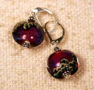 Fuscia/Purple dichroic lampworked lentil earring