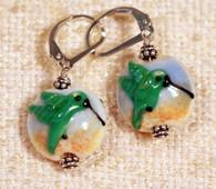 Hummingbird lampworked lentil earrings