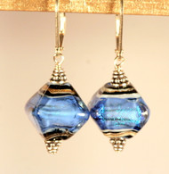 Sky blue dichroic lampworked crystal shaped earrings