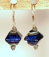 Cobalt blue dichroic lampworked crystal shaped earrings