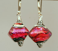 Pink over tangerine dichroic lampworked crystal shaped earrings