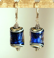 Cobalt blue dichroic lampworked rectangular shaped earrings