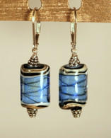 Sky blue dichroic lampworked rectangular shaped earrings