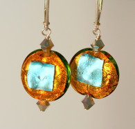 Silver foil lined amber and aqua Venetian glassl earrings
